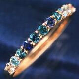10K ブルーダイヤモンド 10金 ゴールドリング レディース 指輪?ブルークイーンローズ コーンフラワーブルーサファイア アクアマリン 青い薔薇 エタニティリング エタニティーリング 重ねづけ 重ね