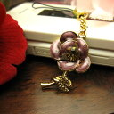  Rose flower carrying strap / amethyst purple [flower] that a rhinestone glistens with