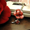  Rose flower carrying strap / rose red [flower] that a rhinestone glistens with