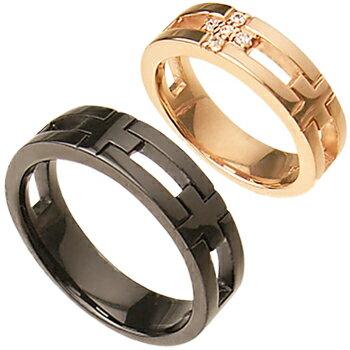 クロス ペアリング (PinkGoldコーティング-Blackコーティング)【リング】【ring】【指輪】【ゆびわ】 【リング】【ring】【指輪】【ゆびわ】