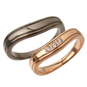 スタイリッシュラインペアリング (PinkGold・Blackコーティング)【リング】【ring】【指輪】【ゆびわ】 【リング】【ring】【指輪】【ゆびわ】