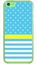 【スマホケース スマホカバー】ドット/ボーダー サックスブルー (クリア) / for iPhone 5c/SoftBank【ケース/カバー/CASE/ケ−ス】【..