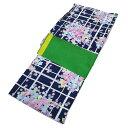 ショッピングアジサイ ■レディース 浴衣 2点 セット フリーサイズ 格子柄に紫陽花(紺色地) 緑色×黄色のリバーシブル帯 [y3146] ゆかた 変わり織 コーディネート 帯