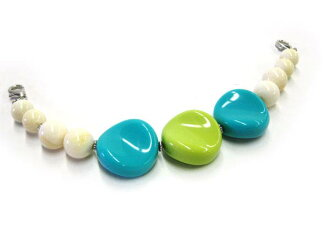 ★ Acrylic beads haori strings ★ white marble with green and sky blue acrylic-cute and easy!