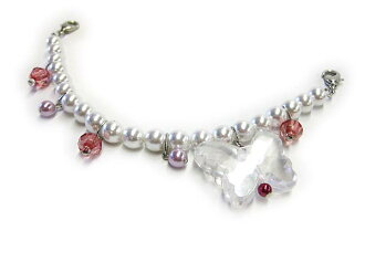 ★ Crystal & pearl beads haori strings ★ White Pearl to the butterfly-cute and easy!