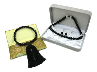 ★Three points of black coral set ★ necklaces, earrings, beads (with the case)