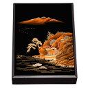 木製 かぶせ文庫 黒 山水景 蒔絵 33cm A4対応