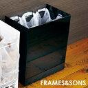 FRAMES&SONS kakusu レジ袋ダストボックス 3分別 UD15 レジ袋 ゴミ箱 カクス おしゃれ ごみ箱 スチール キャスター付き シンプル 分別ごみ箱 分別ダストボックス 分別 分別ごみ箱 ホワイト 白 ブラック 黒 即納