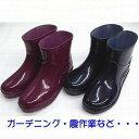ちょっとブーツ ショート レインブーツ レディース 作業靴 雨靴 長靴 完全防水 掃除 ガーデニング ベランダ 家庭菜園LB8406