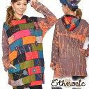 BC550 ネパール製ブロックパッチワークお花模様付きタイダイゆったりチュニック/アジアン衣料/エスニック衣料