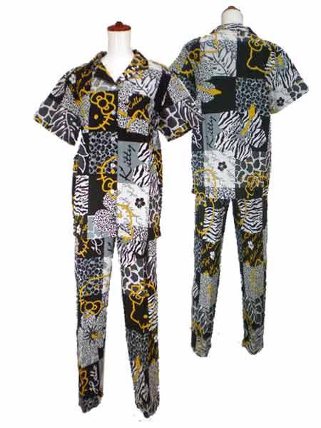 レディース/婦人☆ハローキティシャツパジャマ/リップルパジャマ/前開きパジャマ/ブロックアニマルキティ/ナイティ/ホームウェア/サザック/サンリオ