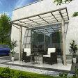 YKK 独立テラス屋根(600N/m2) エフルージュグラン ZERO 2間×4尺 標準柱(H2600) T字構造タイプ 熱線遮断ポリカ 帯・木目カラー