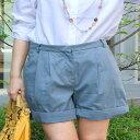 85%OFF【ショートパンツ】【日本製】元気いっぱいのコーデが不思議とオトナっぽくキマるとろみ素材のテンセルコットンバイオ加工ショートパンツ【メール便可送料】 30代 レディースファッション