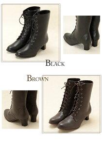 袴用♪レースアップ(編みあげ)ブーツ<黒・茶色>8サイズ展開