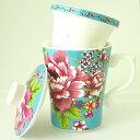 台湾 茶器 蓋碗 花布柄 蓋・茶漉し付きマグカップ ブルー 新太源製