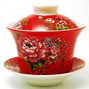 台湾 茶器 蓋碗 花布柄 レッド(新太源製)【台湾 茶器 烏龍茶 お土産 かわいい おしゃれ きれい 花柄 高級感】
