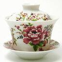 台湾 茶器 蓋碗 花布柄 ホワイト(新太源製)【7色 台湾 茶器 烏龍茶 お土産 かわいい おしゃれ きれい 花柄 高級感】