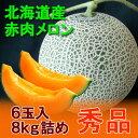 【北海道産 メロン 赤肉】北海道 赤肉メロン 秀品 6玉入 8kg詰め(共撰)