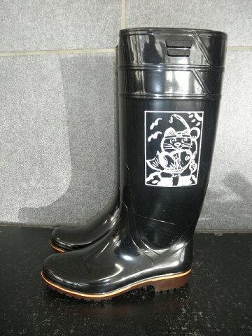 ザクタス耐油長靴Z01(黒)日本製 魚釣り招き猫プリント入り