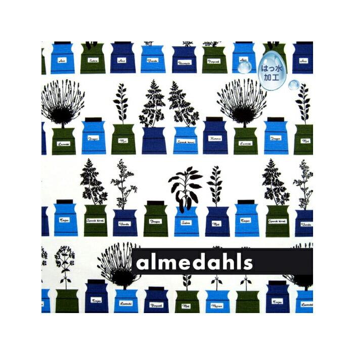 《1.5mまでメール便送料無料》アルメダールス Almedahls 北欧 コーティング生地 ハーブポット (76940-000)<ブルー>(30cm以上〜10cm単位で切り売り)( キッチンブランチ )