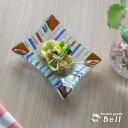 手作りビードロ ガラスプレート 長方形 S サファリ 13cm x 11cm 業務用食器