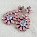 ショッピングシャンデリア 【SALE】デラックスアクセサリーズ ピアス パープルとピンクのアートガラス シャンデリア ヴィンテージガラス