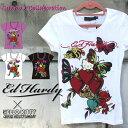 Ed Hardy×Sanrio Hello Kitty エドハーディー×サンリオ ハローキティ コラボTシャツ半袖Tシャツ レディース デビル 花 蝶 W02SK3M エド・ハーディー Tシャツ エドハーディ edhardy タトゥー