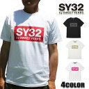 SY32 by SWEET YEARS(エスワイサーティトゥバイスィートイヤーズ) Tシャツ 9023 メンズ/レディース COLOR BOX LOGO TEE ブラック/ホワイト S/M/L/XL