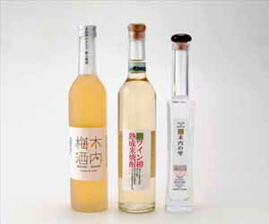 Kiuchi plum liqueur, wine barrel aging shochu, three drop sets of Kiuchi