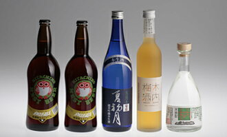 Hitachino-菊盛 junmai ginjo sake summer's first month, kiuchi plum wine and shochu kiuchi 25 5 book set