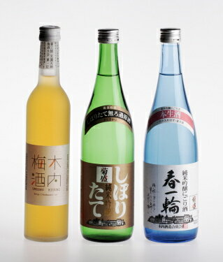 Plum wine 菊盛 fresh new brews and Japan's 3 piece set