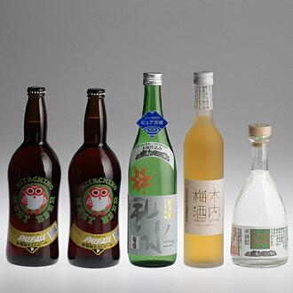 "Hitachi wild beer-pure, Ibaraki ""fall up"" tree plum shochu kiuchi 25 5 book set"