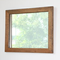 鏡 壁掛け おしゃれ アンティーク ミラー 木枠 木製 無垢材 天然木 北欧 パインを古材風に仕上げたおしゃれでシンプルな木枠の鏡 Mサイズ(ライトブラウン)ウォールミラー  完全日本製 受注製作品 ハンドメイド 木枠屋オリジナル