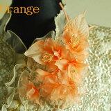 【限定】*慶事用*フラワーコサージュ(オレンジ):C160-ORサザンカ風の胸飾り(ケース入り)【結婚式・披露宴・卒業式・入学式・成人式】10P01Mar15