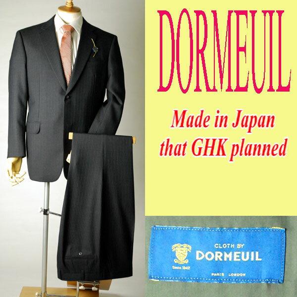 *秋冬物日本製Dormeuil* 衿巾8cm〜8.4cmの濃紺色のドーメルのビジネススーツ:2B×1 :RM80★パンツ裾未処理