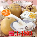 送料無料 みずみずしいおいしさが詰まった秋の王様福島県産「王秋梨」3kg