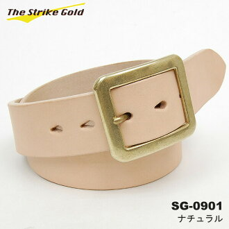 "THE STRIKE GOLD( strike gold) Italian benz leather belt plane ""SG-0901"" natural 《 free shipping 》"