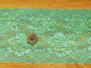 【レース★コバルトグリーン×イエローグリーン】エレガントな花柄ストレッチレース【50cm単位】(kk-38)