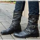【身長4.5cmUP】送料無料 メンズブーツ メンズ エンジニアブーツ 本革 靴 サイドジップ サイドジッパー ミディアム ショート黒 ブラック スタッズ クロスベルト