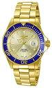 インヴィクタ Invicta Men's 14124 Pro Diver Gold Dial 18k Gold Ion-Plated Stainless Steel Watch