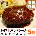 神戸牛 ハンバーグ デミソース仕立て 5個セット【送料無料 あす楽対応】【冷凍 湯煎