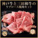 ギフトにも!神戸牛A5等級と三田和牛A4等級のリブロース焼き肉セット1kg 【あす楽対応】【楽ギフ_のし】神戸ビーフ 神戸肉