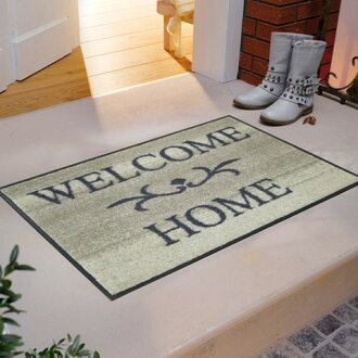 Wash+dry ( ウォッシュアンドドライ ) (excluding Hokkaido and Okinawa and remote islands) Welcome Home beige slim, sturdy washable door mat 50 x 75cm屋 in and outdoor use