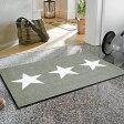 玄関マット 屋外 室内 屋内 兼用 洗える 薄型 西海岸【送料無料】wash+dry(ウォッシュアンドドライ) Stars sand Stars grey 50×75cm