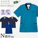 スクラブ RF5127 RF5147/メンズ S〜BL 全4色 半袖 ジップ 手術衣 ジャケット 男性/制