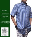 カジュアルシャツ 半袖 オースチンリード ワイドスプレット 半袖 ブルー ロンドンストライプ M L LL