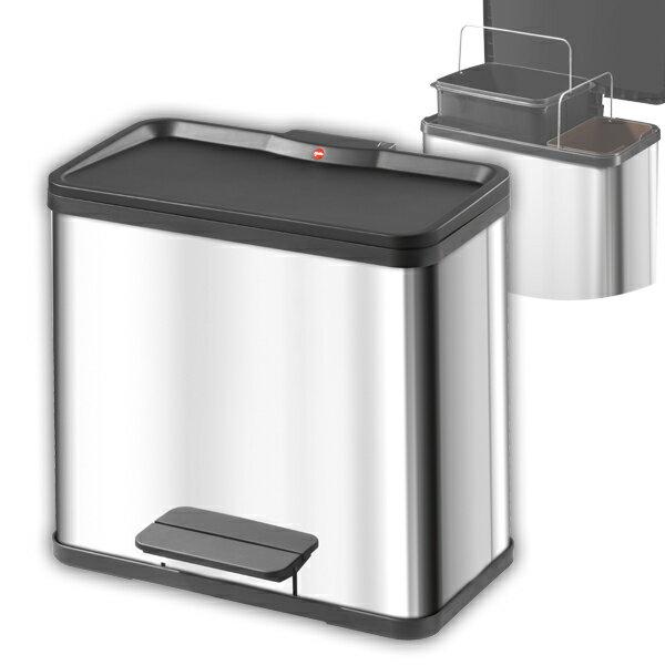 Hailo ハイロ ドイツ インテリア ごみばこ 蓋付き おしゃれ ゴミ箱 ダストボックス 分別デュオ30(19L×+11L) ステンレス 60069
