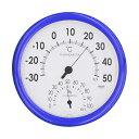 ショッピング湿度計 クレセル CRECER 温度計 湿度計 壁掛用 ブルー 青 丸い リビング キッチン 書斎 寝室 子供部屋 見やすい 日本製 スタンダード温湿度計 CR-320B