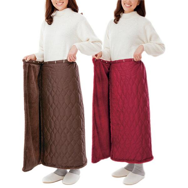巻きスカート 防寒 冬 あったか 冷え キルティング フリース あったか ロング レディース 足の冷え ひざ掛け 巻 ワイン ココア 裏ファー 裏ファー巻きスカート 2枚組