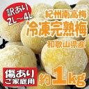 【冷凍便】訳あり 紀州南高梅 冷凍完熟梅 約1kg 完熟(大玉2L〜4L) 産地直送 和歌山 取